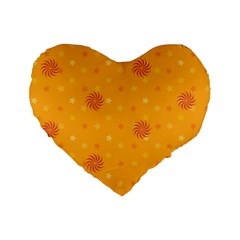 Star White Fan Orange Gold Standard 16  Premium Flano Heart Shape Cushions