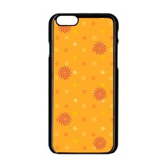 Star White Fan Orange Gold Apple iPhone 6/6S Black Enamel Case