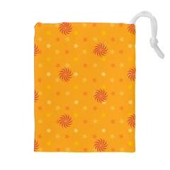 Star White Fan Orange Gold Drawstring Pouches (Extra Large)