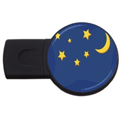 Starry Star Night Moon Blue Sky Light Yellow USB Flash Drive Round (1 GB)