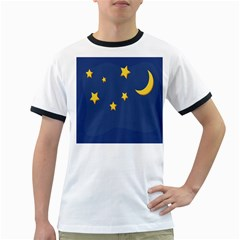 Starry Star Night Moon Blue Sky Light Yellow Ringer T Shirts