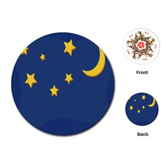 Starry Star Night Moon Blue Sky Light Yellow Playing Cards (Round)