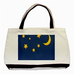 Starry Star Night Moon Blue Sky Light Yellow Basic Tote Bag (Two Sides)
