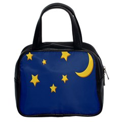 Starry Star Night Moon Blue Sky Light Yellow Classic Handbags (2 Sides)