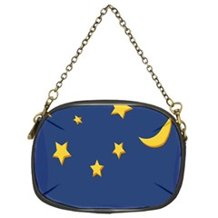 Starry Star Night Moon Blue Sky Light Yellow Chain Purses (Two Sides)