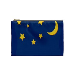 Starry Star Night Moon Blue Sky Light Yellow Cosmetic Bag (Medium)
