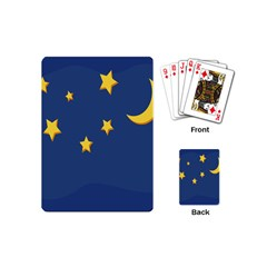 Starry Star Night Moon Blue Sky Light Yellow Playing Cards (mini)