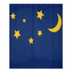 Starry Star Night Moon Blue Sky Light Yellow Shower Curtain 60  x 72  (Medium)