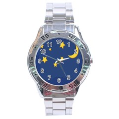 Starry Star Night Moon Blue Sky Light Yellow Stainless Steel Analogue Watch