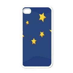 Starry Star Night Moon Blue Sky Light Yellow Apple iPhone 4 Case (White)