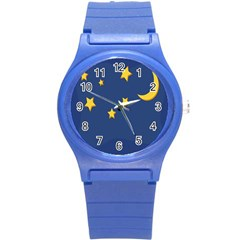 Starry Star Night Moon Blue Sky Light Yellow Round Plastic Sport Watch (S)