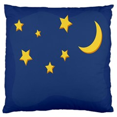 Starry Star Night Moon Blue Sky Light Yellow Large Flano Cushion Case (one Side)