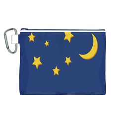 Starry Star Night Moon Blue Sky Light Yellow Canvas Cosmetic Bag (L)