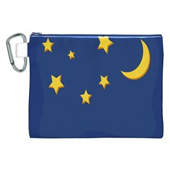 Starry Star Night Moon Blue Sky Light Yellow Canvas Cosmetic Bag (XXL)