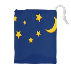 Starry Star Night Moon Blue Sky Light Yellow Drawstring Pouches (Extra Large)