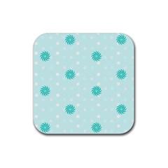 Star White Fan Blue Rubber Square Coaster (4 pack)