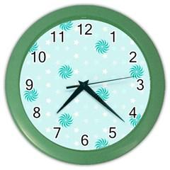 Star White Fan Blue Color Wall Clocks