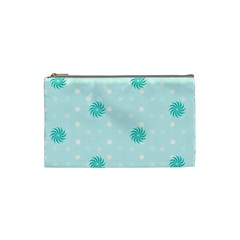 Star White Fan Blue Cosmetic Bag (Small)