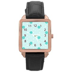 Star White Fan Blue Rose Gold Leather Watch