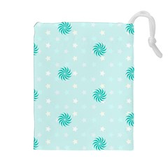 Star White Fan Blue Drawstring Pouches (Extra Large)