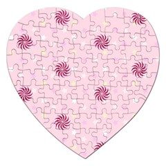 Star White Fan Pink Jigsaw Puzzle (Heart)