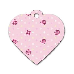 Star White Fan Pink Dog Tag Heart (Two Sides)