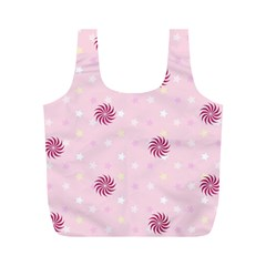 Star White Fan Pink Full Print Recycle Bags (M)