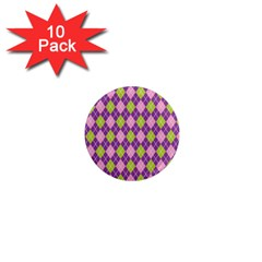 Plaid Triangle Line Wave Chevron Green Purple Grey Beauty Argyle 1  Mini Magnet (10 Pack)
