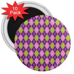 Plaid Triangle Line Wave Chevron Green Purple Grey Beauty Argyle 3  Magnets (10 Pack)