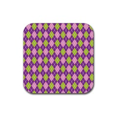 Plaid Triangle Line Wave Chevron Green Purple Grey Beauty Argyle Rubber Square Coaster (4 Pack)