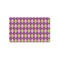 Plaid Triangle Line Wave Chevron Green Purple Grey Beauty Argyle Magnet (Name Card)