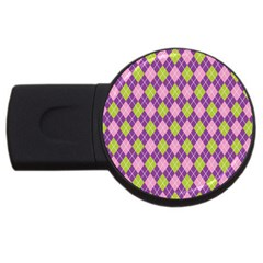 Plaid Triangle Line Wave Chevron Green Purple Grey Beauty Argyle USB Flash Drive Round (4 GB)