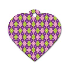 Plaid Triangle Line Wave Chevron Green Purple Grey Beauty Argyle Dog Tag Heart (Two Sides)