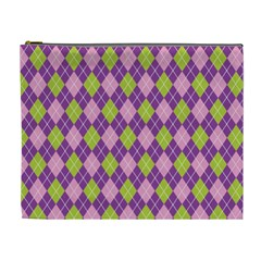 Plaid Triangle Line Wave Chevron Green Purple Grey Beauty Argyle Cosmetic Bag (XL)