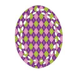 Plaid Triangle Line Wave Chevron Green Purple Grey Beauty Argyle Oval Filigree Ornament (Two Sides)