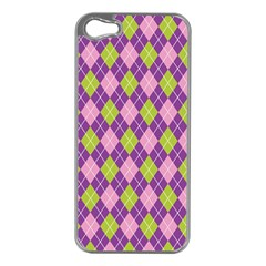 Plaid Triangle Line Wave Chevron Green Purple Grey Beauty Argyle Apple iPhone 5 Case (Silver)