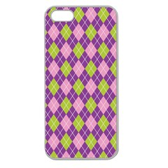 Plaid Triangle Line Wave Chevron Green Purple Grey Beauty Argyle Apple Seamless iPhone 5 Case (Clear)