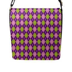 Plaid Triangle Line Wave Chevron Green Purple Grey Beauty Argyle Flap Messenger Bag (L)