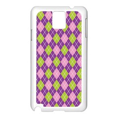 Plaid Triangle Line Wave Chevron Green Purple Grey Beauty Argyle Samsung Galaxy Note 3 N9005 Case (White)