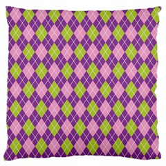 Plaid Triangle Line Wave Chevron Green Purple Grey Beauty Argyle Large Flano Cushion Case (two Sides)