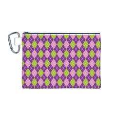 Plaid Triangle Line Wave Chevron Green Purple Grey Beauty Argyle Canvas Cosmetic Bag (M)