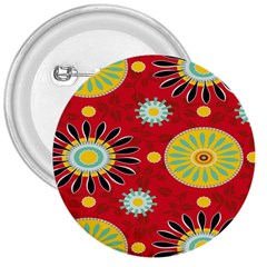 Sunflower Floral Red Yellow Black Circle 3  Buttons