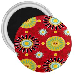 Sunflower Floral Red Yellow Black Circle 3  Magnets