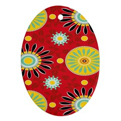 Sunflower Floral Red Yellow Black Circle Ornament (Oval)