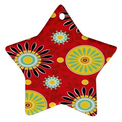 Sunflower Floral Red Yellow Black Circle Ornament (star)