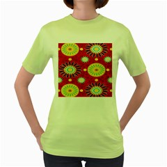 Sunflower Floral Red Yellow Black Circle Women s Green T-Shirt