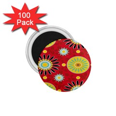 Sunflower Floral Red Yellow Black Circle 1.75  Magnets (100 pack)