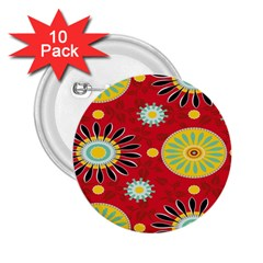 Sunflower Floral Red Yellow Black Circle 2.25  Buttons (10 pack)