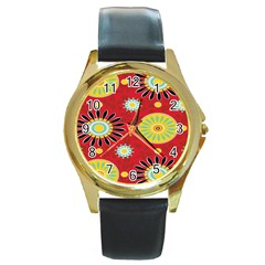 Sunflower Floral Red Yellow Black Circle Round Gold Metal Watch