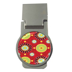 Sunflower Floral Red Yellow Black Circle Money Clips (Round)